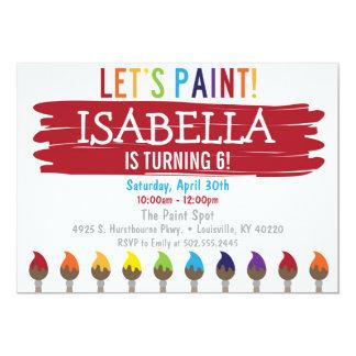 Invitation de fête d'anniversaire de peinture de