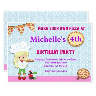 Invitation de fête d'anniversaire de pizza,