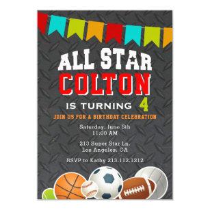 Volley-ball All Star équipe sportive Thème Fête D/'Anniversaire Invitations Avec Enveloppes