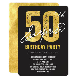 Carte Invitation de fête d'anniversaire de surprise de