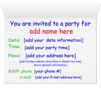 Invitation de fête d'anniversaire d'enfant carte de vœux