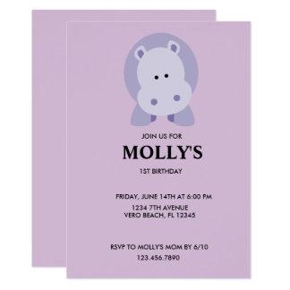 Invitation de fête d'anniversaire d'hippopotame de