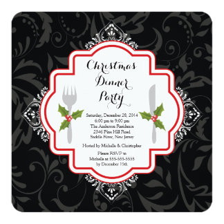 Invitation de fête de dîner de Noël