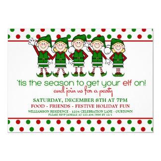 Invitation de fête de Noël d'elfes de danse