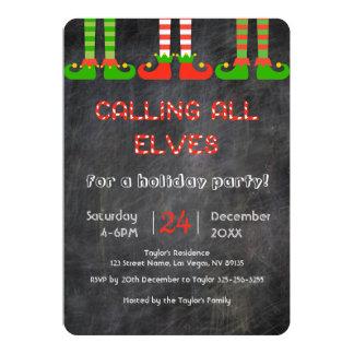 Invitation de fête de Noël d'elfes de tableau
