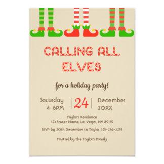 Invitation de fête de vacances de Noël d'elfes