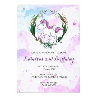 Invitation de fille d'anniversaire de licorne