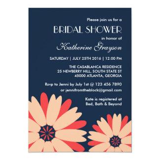 Invitation de fleur de bleu marine pour le mariage