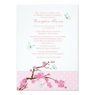 Invitation de fleurs de cerisier et de papillons carton d'invitation  12,7 cm x 17,78 cm
