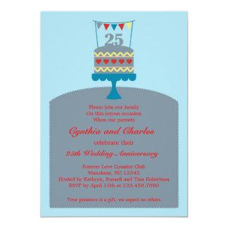 Invitation de gâteau d'anniversaire de mariage 25