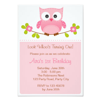 Invitation de hibou - ęrs anniversaire/baby shower