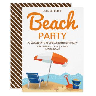 Invitation de l'anniversaire de plage de l'enfant