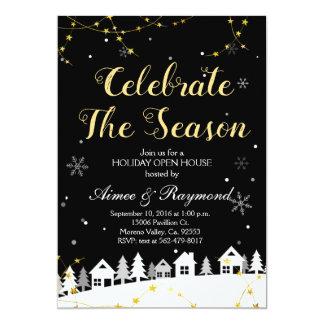 Invitation de maison ouverte de vacances de Noël