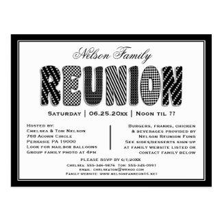 Invitation de motif de la Réunion B/W de famille