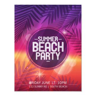 Invitation de nuit de partie de plage d'été