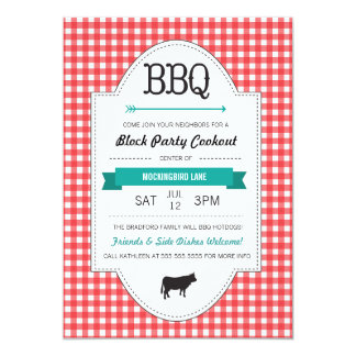 Invitation de partie de bloc de BBQ d'amusement