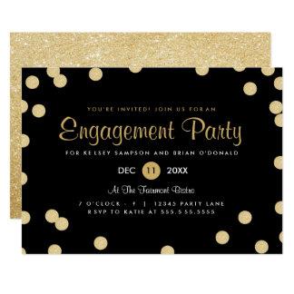 Invitation de partie de fiançailles de confettis