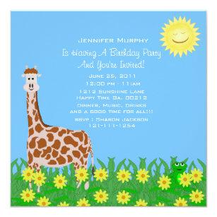 Invitation de partie de girafe et de grenouille