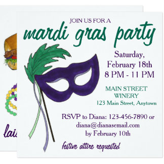 Invitation de partie de mascarade de mardi gras de
