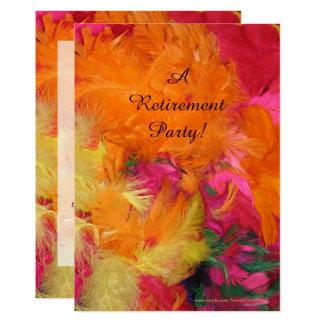 Invitation de partie de retraite, orange, plumes