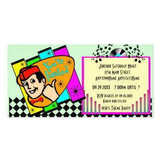 Invitation de partie de thème de régression cartes de vœux avec photo