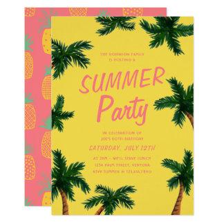 Invitation de partie d'été de palmier