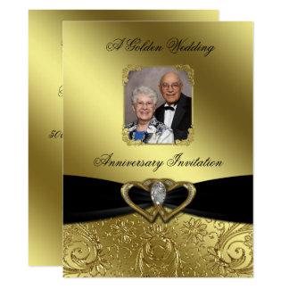 Invitation de photo d'anniversaire de mariage d'or