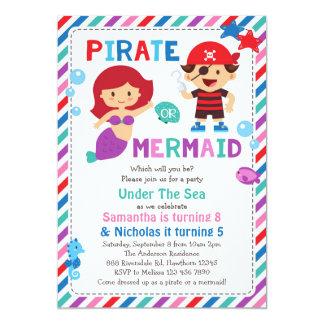 Invitation de pirate ou de sirène, sous la partie
