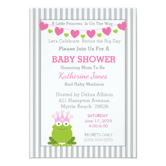 Invitation de princesse baby shower de grenouille