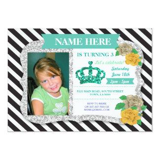 Invitation de princesse Crown Glitter Mint Stripe