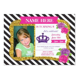 Invitation de princesse Crown Gold Glitter Pink