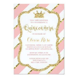 Invitation de Quinceañera, rose, or, couronne