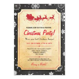 Invitation de rennes de neige de Père Noël de