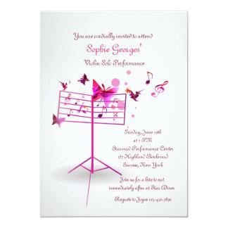 Invitation de rose de support de musique