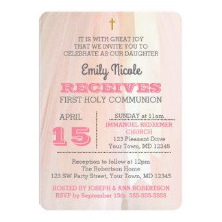 Invitation de sainte communion de rose de