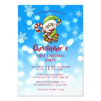 Invitation de sucrerie d'Elf de fête de Noël du `