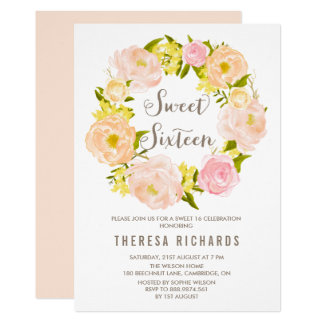 Invitation de sweet sixteen de guirlande de
