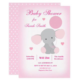 Invitation d'éléphant rose de baby shower de fille
