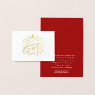 Invitation d'entreprise de fête de vacances d'or