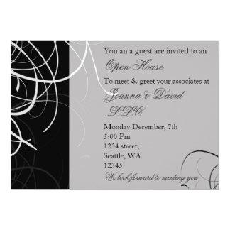 invitation d'entreprise noire et blanche de partie