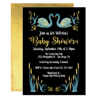 Invitation d'or de baby shower de cygnes