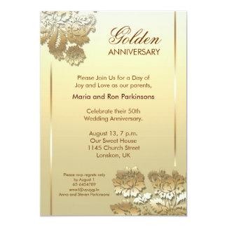 invitation d'or de l'anniversaire 50