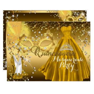 Invitation d'or de Quinceanera de mascarade de
