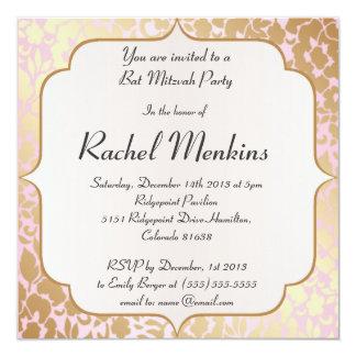 Invitation d'or métallique de bat mitzvah de rose