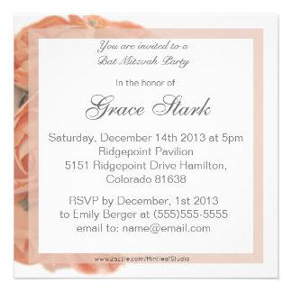 Invitation élégante de bat mitzvah de roses de pêc