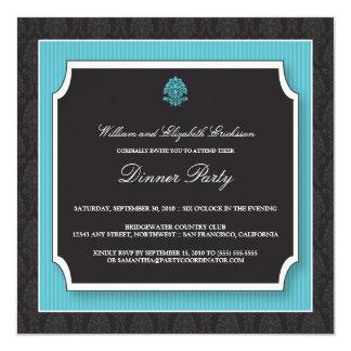 Invitation élégante de dîner de damassé (aqua)
