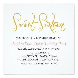 Invitation élégante de sweet sixteen d'or et de