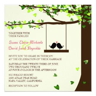 Invitation en baisse de mariage de chêne de coeurs carton d'invitation  13,33 cm