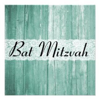 Invitation en bois de bat mitzvah de jade vintage
