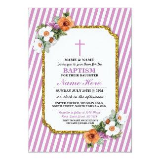 Invitation en bois de fille florale de baptême de